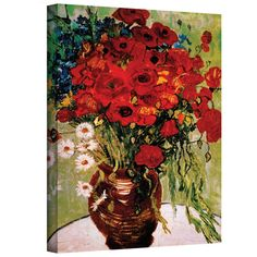 Found it at Wayfair - Red Poppies & Daisies by Van Gogh Canvas Giclee Print