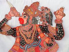 Impressive Larger than Life size Hanuman the Monkey God parchment puppet beautifully hand-painted in pinks and India Ink penwork 7 Feet Tall Krishna Leela, Lord Krishna Images, Ai Illustrator, India Ink, Painting Leather, Hanuman, Puppets, Shadows, Folk Art