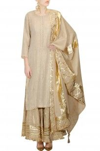 Beige and gold gota patti work kurta and sharara set
