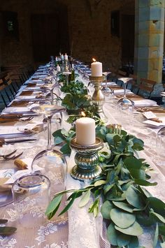 Table decor with lace runner, green eucalyptus runner, white lisiathus and silver candlesticks. Wedding Event Planner, Wedding Events, Weddings, Lace Runner, Silver Candlesticks, Wedding Decorations, Table Decorations, Julien, Table Centers