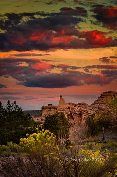 Sunset at White Place ~ Abiquiu, New Mexico by dfikar
