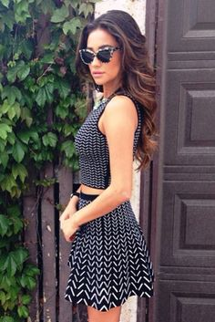 Shay Mitchell wearing Prism Portofino Cat Eye Sunglasses Dannijo Vonna Necklace Ohne Titel Chevron Crop Tank Ohne Titel Chevron Skirt