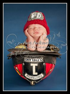 Crochet Baby Firefighter Hat by dkcuddlemecrochet on Etsy, $25.00