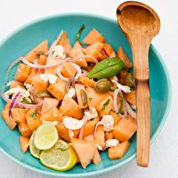 Cantaloupe Salad with Basil, Fresh Mozzarella & Onions by The Kitchn