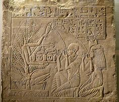 """Tree-goddess with 2 human-headed soul birds (""""Ba"""") thereunder - Egyptian relief"""