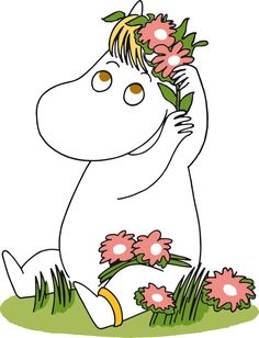 Niiskuneidin kalapannukakkunen | Chipsters Embroidery Applique, Embroidery Patterns, Moomin Wallpaper, Cute Tats, Moomin Valley, Tove Jansson, Holding Flowers, Art Club, Cute Drawings