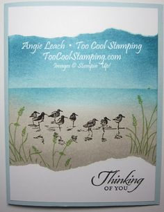 features Stampin' Up! card with ink transfer baby wipes Wetlands Stampin Up, Nautical Cards, Beach Cards, Bird Cards, Card Making Techniques, Stamping Up Cards, Get Well Cards, Card Tutorials, Masculine Cards