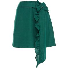 Got My Mind Made Up Skirt | Moda Operandi (9.792.400 VND) ❤ liked on Polyvore featuring skirts, mini skirt, ruffle mini skirt, frilly skirt, ruffled skirt and green skirt