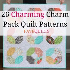 If you love charm pack quilts, then you have to check out these charm pack quilt patterns. Quilting with charm packs makes quilting much easier and inexpensive. Charm Pack Quilt Patterns, Charm Pack Quilts, Charm Quilt, Beginner Quilt Patterns, Baby Quilt Patterns, Quilting Tutorials, Quilting Projects, Quilting Ideas, Sewing Projects