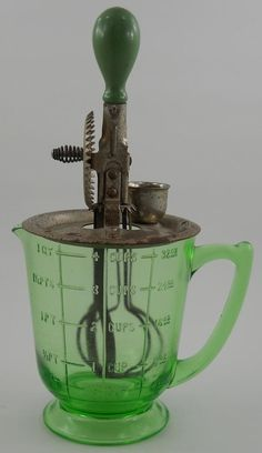 Vintage Green Depression Glass A & J Beater Mixer and Handled Bowl