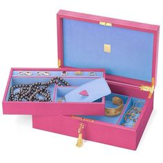 Aspinal of London Savoy Jewellery Case In Raspberry Lizard & Pale Blue... ($745) ❤ liked on Polyvore featuring home, home decor, jewelry storage, accessories, aspinal of london, handmade jewelry box, handmade home decor, handcrafted jewelry box and compartment tray