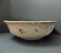 Extra Large Bowl, Wash Basin, by Willets Manufacturing Semi Porcelain circa 1909, tablescapes by DocsOddsandEnds on Etsy