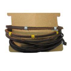 Black Brown Leather Bracelets Set GBR10049