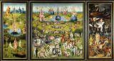 """EL BOSCO: Tríptico de """"El Jardín de las Delicias"""", 1510. Museo del Prado. Cuando está  cerrado, está representado, en grisalla, el mundo después del diluvio. El panel izquierdo del interior del tríptico nos muestra la Creación, con Dios que acaba de dotar a Adán de una compañera. En un primer término, animales de distintos géneros pululan alrededor de una balsa. El panel central del tríptico, la Creación.  En el panel derecho se describe el infierno."""