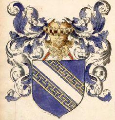 """Comté de Champagne, Armorial Le Blancq f° 18v (©BNF) -- see more in: L'Armorial de Jehan de Saintré - le """"gotha"""" en 1456 (2)"""