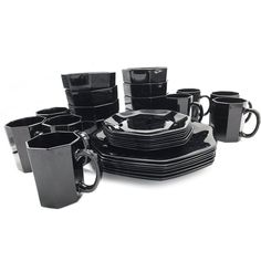 Vintage 32 piece dining set of black Arcoroc French octagon Goth Home, Large Plates, Amber Glass, Black Glass, Dining Set, Coffee Maker, French, Mugs, Modern