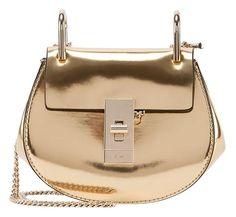 0a6fd3aa7d21 Chlo Drew Nano Mirror Leather Saddle Gold Cross Body Bag. Get the trendiest Cross  Body