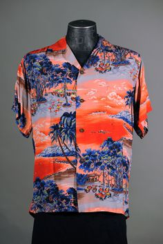 Liberty House Blu/grey/brn/yel/white print on red bkgrnd, outdoor scene with banyan tree; Vintage Hawaiian Shirts, Vintage Shirts, Hawiian Shirts, Mens Printed Shirts, Island Shirts, Aloha Shirt, Party Shirts, Tropical, Look Cool