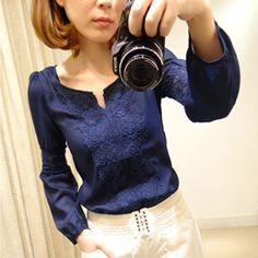 2013 Nova Promoções Hot Trendy Cozy Mulheres shirt selvagem Magro Moda Blusa de manga comprida elegante bonito Renda Patchwork 9.99