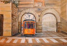 antica porta nuova ,piazza cavour Milano.-acquerello 35x51 di Lorenza Pasquali n.d.