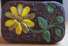 Polymer Filigree Tin Sunflower Altoids size tin by ColorfulClay, $18.00