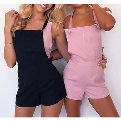 Bernadette Romper Overalls (41 NZD) ❤ liked on Polyvore featuring jumpsuits, overalls jumpsuit, pink jumpsuit, playsuit jumpsuit, pink romper and bib overalls