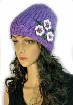 Purple Hand Knit Crochet Slouchy Winter Beanie Cap with Flower Trio Accent KENGDO,http://www.amazon.com/dp/B00I827GXQ/ref=cm_sw_r_pi_dp_x9K.sb05QZTP0JV9