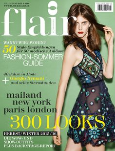 A Burberry A/W15 dress on the July/August cover of Flair Germany
