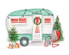 Vintage Turquoise Camper with Christmas Trees Fine Art Watercolor Print Christmas Drawing, Christmas Paintings, Christmas Art, Vintage Christmas, Christmas Graphics, Watercolor Artwork, Watercolor Print, Vintage Clipart, Minis