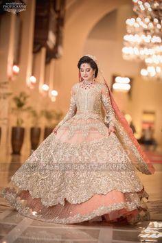 new Pakistani bridal dress in light colours # bridal lahenga weddings lahenga It's also available toh marron colour New Bridal Dresses, Indian Bridal Outfits, Pakistani Wedding Outfits, Indian Bridal Lehenga, Pakistani Bridal Dresses, Pakistani Wedding Dresses, Nikkah Dress, Shadi Dresses, Bridal Lehenga Collection