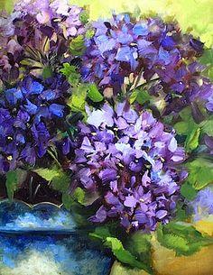 New blues blooming in Flower Mound Studio tonight! Blue Bloomers of the Dallas Arboretum, 11X14 www.nancymedinaart.com