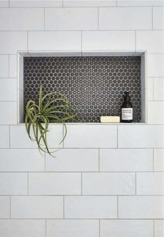 Shower niche with large subway tile and penny tile. Shower niche with large subway tile and penny tile. Shower niche with large subway tile and penny tile.<br> Shower niche with large subway tile and penny tile. Shower Remodel, Bathroom Remodel Master, Bathroom Makeover, Bathroom Niche, Shower Niche, Bathroom Decor, Penny Tile, Bathroom Inspiration