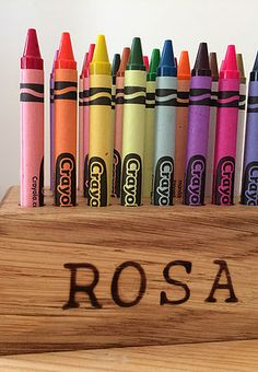 CHILDRENS GIFT IDEA solid oak personalised crayon holder from www.holderandhook.co.uk