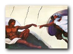Accentuate the charm of your living room with this wonderful the black creation of Adam Sistine chapel picture art print poster. This wonderful wall art captures the image which illustrates the Book of Genesis story of God breathing life into Adam, the first human being. Hang this wonderful poster in your living room and get ready to get compliments from those who visit your home. Discover the uniqueness of this poster and make your order today for its durable quality and excellent color…