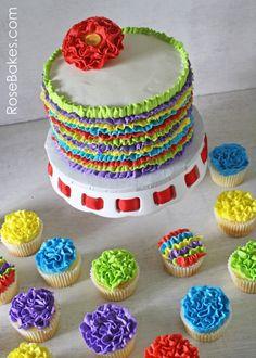 Fiesta Ruffles Cake and Ruffles Cupcakes