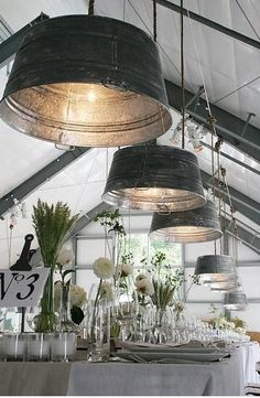 light fixtures made from buckets.