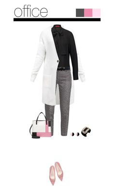Office outfit: Black - White - Rose by downtownblues on Polyvore featuring polyvore fashion style Roger Vivier Antica Murrina Raina HUGO Anna Field clothing officewear