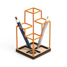 A miniature piece of architecture for your desk top!   -Inspired by architectural sketching -Wire pen holder is a cool and unique design