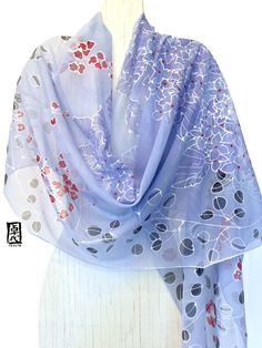 Hand Painted Silk Shawl, Gift for her, Japanese Kimono Scarf, Blue Hydrangea Evening, Silk Chiffon Scarf, Silk Scarves Takuyo, 22x90 inches.  I personally hand paint every silk scarf one at a time with Aloha. My art studio is located on the beautiful Island of Kauai. Handmade in USA is beautiful. :)  The Japanese Kimono Scarf, Blue Hydrangea Evening is a very delicate silk scarf that can be worn as a shill shawl. The transparency of Chiffon adds a depth and intricacy to the design, creating…