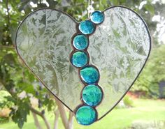Stained Glass Suncatcher Heart with Bright by ShatteredbyLight, $20.00