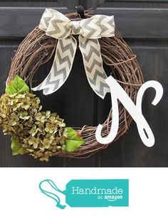 Monogrammed All Season Grapevine Wreath / Personalized Year Round Front Door Decoration with Green Artificial Hydrangeas and Initial Letter Choice from New England Home Accents https://www.amazon.com/dp/B01AQD5K2I/ref=hnd_sw_r_pi_dp_gF6DzbHWZ3SSN #handmadeatamazon
