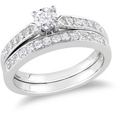Miabella 1/2 Carat T.W. Round Diamond Bridal Ring Set in Sterling Silver