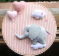 Elephant Hoop, Hospital door hoop in felt, wall art, nursery decor, baby girl gift, custom baby shower, room decor, birth announcement