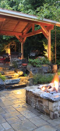 Nice fire pit!  I can imagine a waterfall out here too, an easy place to have all the elements.