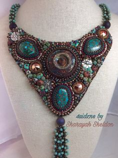my #etsy shop: EARTHLY ELEMENTS : Raku Copper Turquoise  Silver Bead Embroidered Necklace  #boho #jewelry