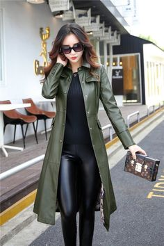 Women's Coat Long Leather Plus Size Turn Collar Single Covered Button Outwear Women's Coat Long Leather Plus Size Turn Collar Single Covered Button Outwear - Fashion Style Look Fashion, Fashion Outfits, Fashion Coat, Trendy Fashion, Fashion Ideas, Cool Outfits, Long Leather Coat, Pu Leather, Leather Trench Coat