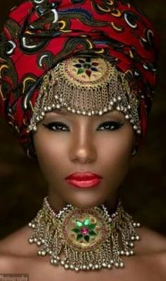 This African American woman looked so cool with the turban and the jewels and I thought she looked very spiritual and wise African Dresses For Women, African Attire, African Head Wraps, Ghanaian Fashion, Nigerian Fashion, Ankara Fashion, Turbans, My Black Is Beautiful, Simply Beautiful