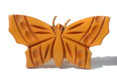 Vintage Bakelite Butterfly Brooch Jewelry Carved by RibbonsEdge
