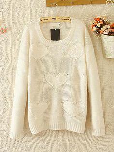 White Long Sleeve Heart Pattern Knit Sweater
