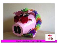 Sparschwein XXL  Hippy Sau Hawaii Schwein  Retrolook  HULLA Geldgeschenk Box